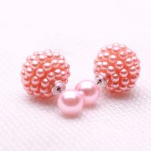 11 Colors Brand Double Side Imitation pearl fashion earring Trendy Cute Charm Pearl Statement Ball Stud earrings for women