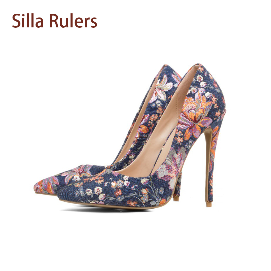 Silla Rulers 2018 Spring Summer Print flowers pointed toe High heels Women Pumps Fashion Shallow Mouth OL Shoes Woman Zapatos 2016 spring and summer free shipping red new fashion design shoes african women print rt 3