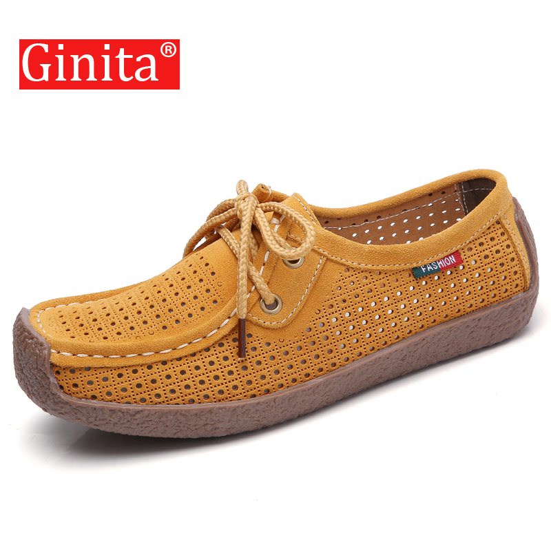 Ginita Women's Loafers Shoes Summer Genuine   Leather   Hollow Lace Up Flat Shoes For Ladies Casual Solid Cow   Suede   Boat Shoes