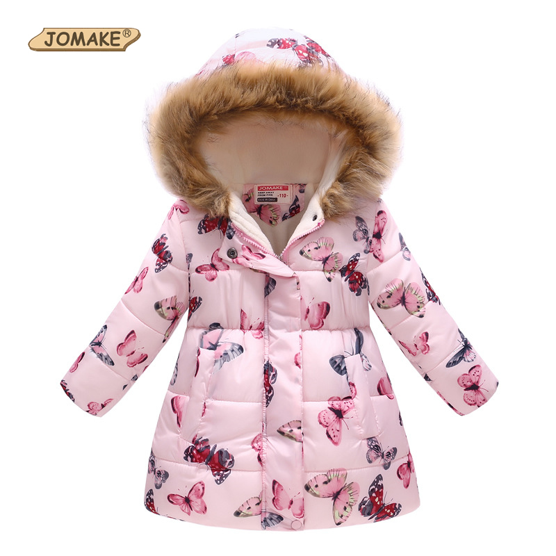 JOMAKE Winter Jackets for Girls Kids Fashion Cute Printed Girls Parka Coats Thick Fleece Warm Children Girls Jackets Fur Hooded thicken parka for men 2016 winter fashion design fleece liner men casual coats hooded slim fit keep warm hombre brand jackets