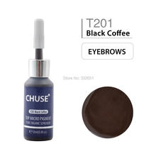 CHUSE T201 Black Coffee Microblading Micro Pigment Permanent Makeup Tattoo Ink Cosmetic Color Passed SGS DermaTest 12ml(0.
