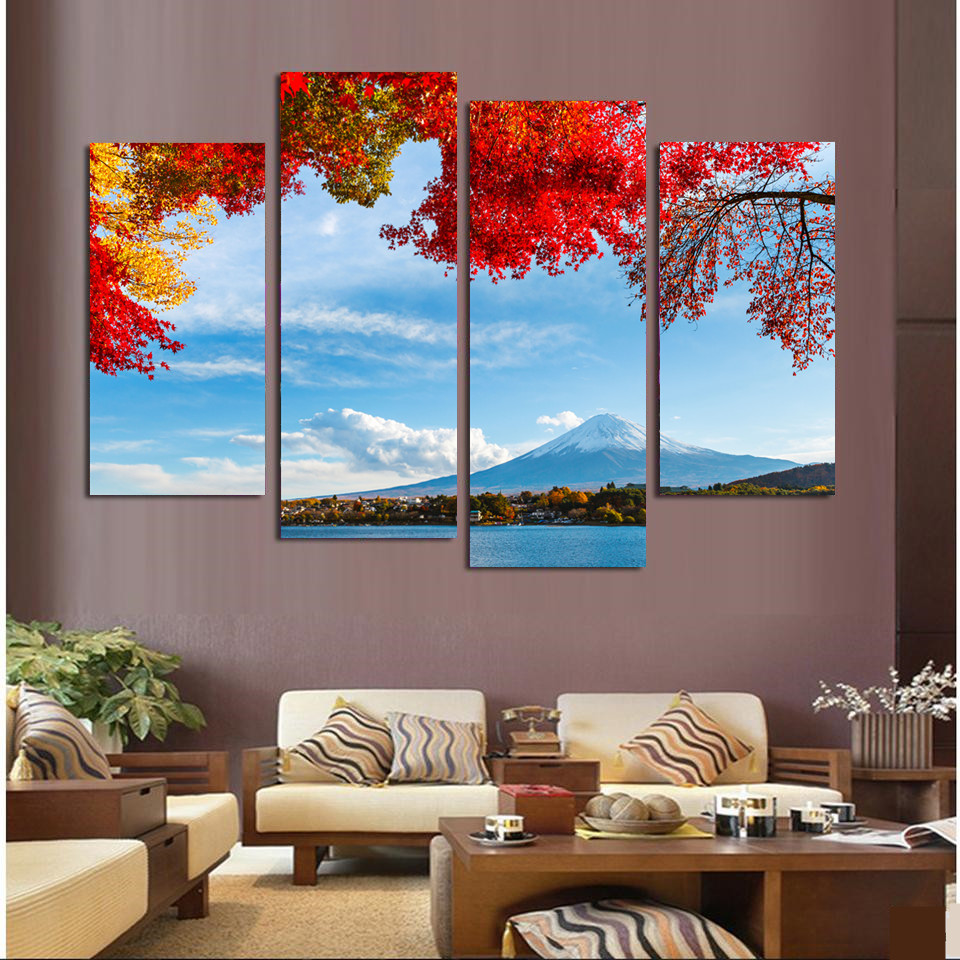 4 piece home decor japanu0027s mount fuji landscape canvas print oil painting wall art picture for - Cheap Canvas Wall Art