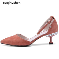 Ouqinvshen Crystal Black Summer Shoes Women Fashion Kid Suede Plus Size Pointed Toe Jelly Shoes Woman Buckle Sexy High Heels 6CM
