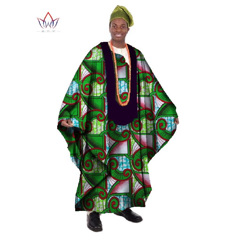 2017 African Print Lilin Disesuaikan Long Lelaki Loose Plus Size Robe Dashiki Clothing Traditional African Mens O-neck Clothing WYN21
