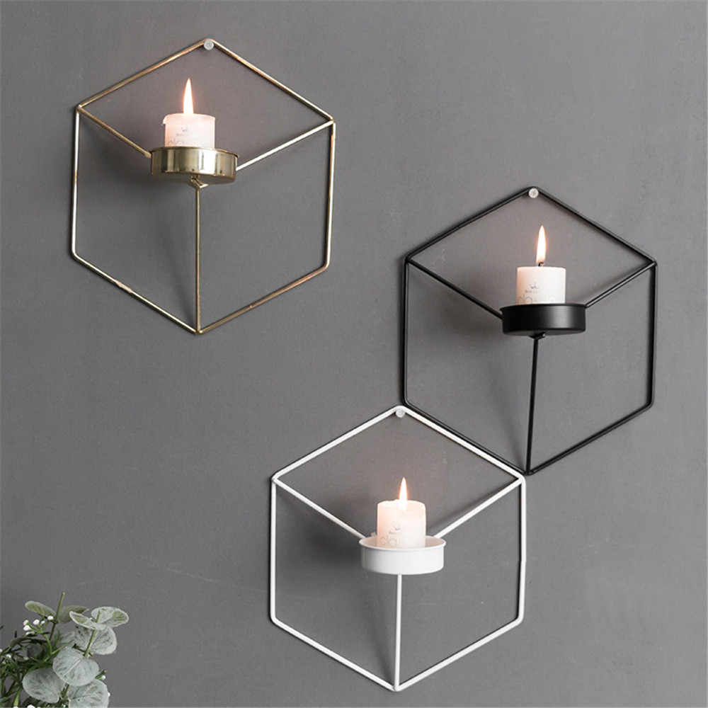 Hexagonal Iron Wall Hanging Candlestick