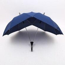 Креативный двухполюсный парный зонтик, чистый цвет, полуавтоматический модный мужской и женский деловой зонт, двойной соединенный зонтик