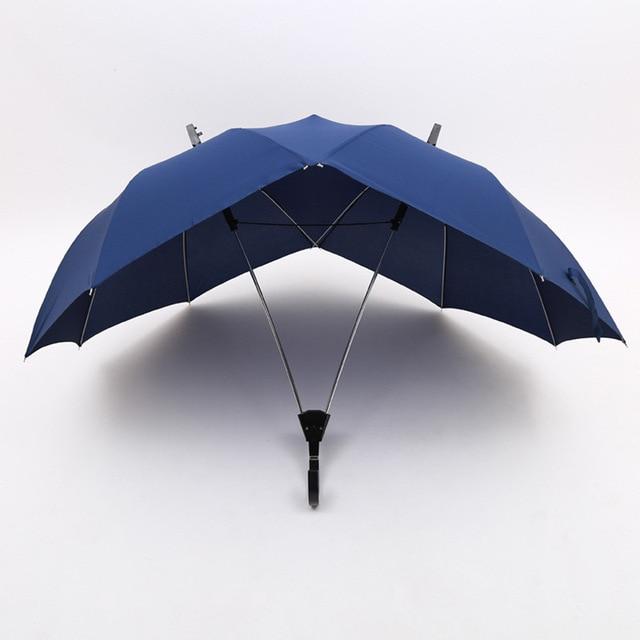 40895e5ec678 US $21.79 29% OFF|Creative Two pole Couple Umbrella Pure Color Semi  automatic Fashion Men and Women Business Umbrella Double Conjoined  Umbrella-in ...
