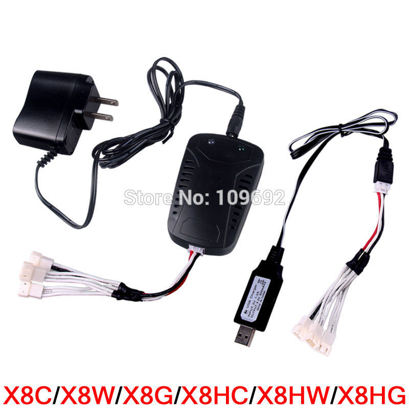 SYMA X8C X8W X8G X8HC X8HW X8HG X6 RC Quadcopter 7.4V Li-po Battery Charger Plug Multi Output USB 3 IN 1 Cable Drone Spare Parts high quaity syma x4 x11 x13 rc quadcopter 3 7v 200mah li po battery 5pcs 5 in 1 charger box