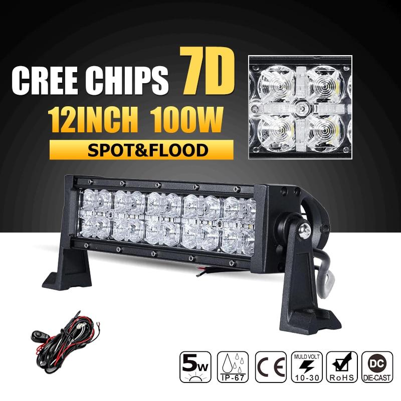 Oslamp 7D CREE Chips 12inch 100W LED Work Light Bar Offroad Led Bar Lights Combo Beam ATV Truck SUV 4WD 4x4 Led Bar 12v 24v
