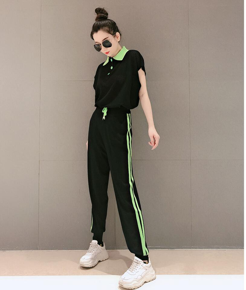 Hollow Out 2 Piece Set Women Festival Clothing Matching Sets Outfit Tracksuit Co-ord Striped Top and Pant Suits 2019 Summer