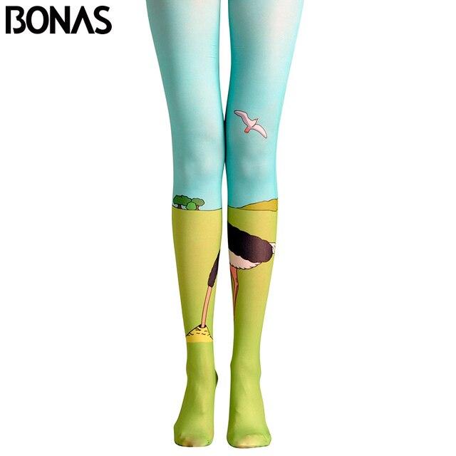 b3b19a001 BONAS Meia-calça 3D Pastagem Elephant Impressão Meias Calças Justas  Mulheres Cosplay Collant de Algodão