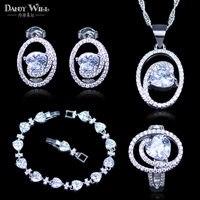 Beste Hochzeit Schmuck-Sets Für Frauen Reine Liebe Stil 925 Stempel Silber Farbe Schmuck Armbänder Anhänger Ohrringe Ringe Halskette