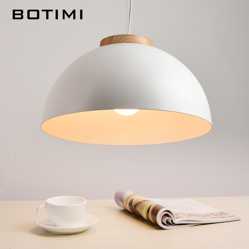 Botimi New White Pendant Lights E27 Wooden Dining Light With Metal Lampshade Modern LED Hanging Lamp