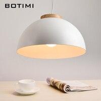 Botimi New Modern LED Pendant Lights E27 Round White Wooden Dining Light Metal Lampshade Hanging Lamp Iron Suspension Lighting