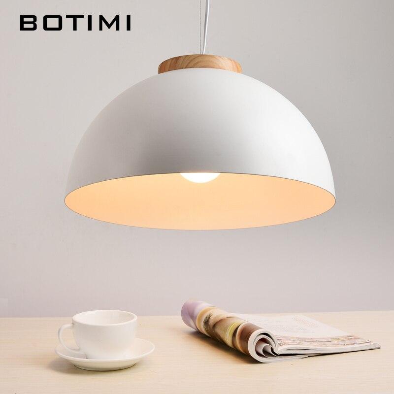 Botimi nouveau moderne pendentif LED lumières E27 rond blanc en bois à manger lumière en métal abat-jour Suspension lampe en fer Suspension éclairage