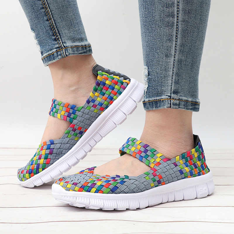 MCCKLE נשים לסרוג דירות נעליים בעבודת יד מעורב צבע גבירותיי אופנה לנשימה נוחה מזדמנים נעליים בתוספת גודל נעליים
