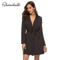 Queechalle White Black Blazers Long Sleeve Women's Blazer Coat Female Cross V neck Belt Ties Suit Jacket Office Lady Workwear