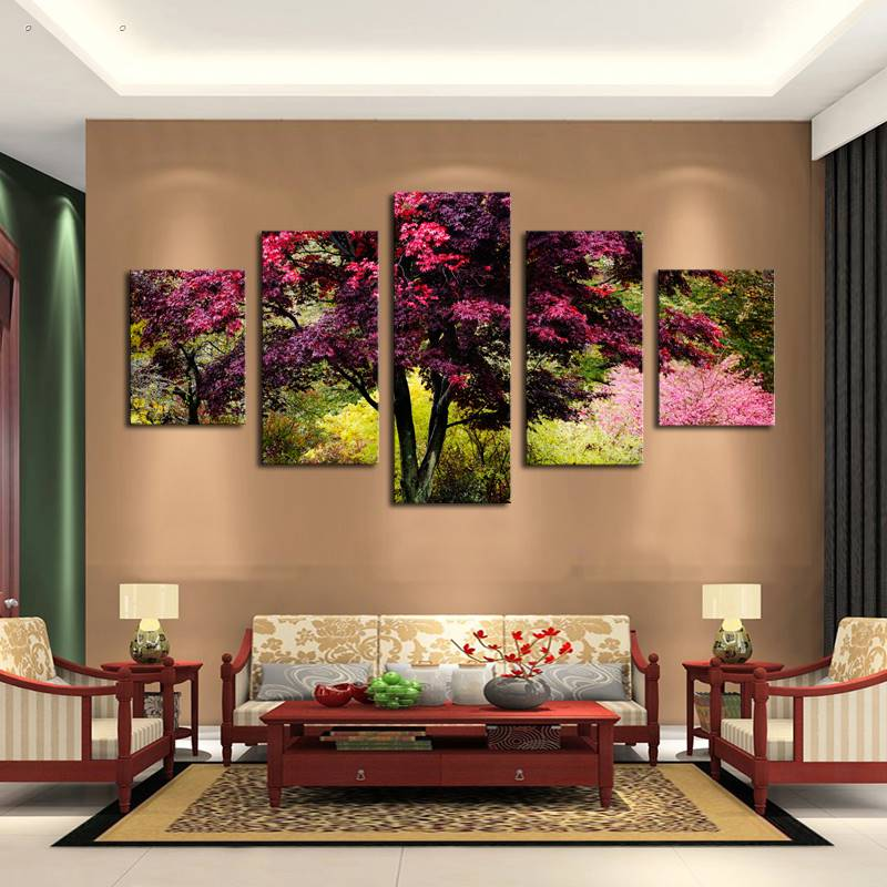Home Decor 5 Panels Hd Printed Tree Plant Wall Art Painting Canvas Print For Room Decor Print Poster Picture Canvas P0527 Vendor Supplier Sale Overall Discount 50-70%