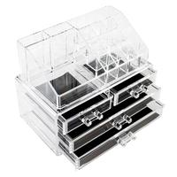 1PC Transparent Acrylic Makeup Storage Shelf Cosmetics Brush Eyeshadow Pencil Lipstick Display Storage Rack with 4 Drawers