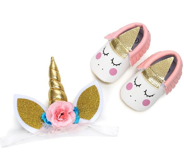 Handmade Baby Shoes Kids Party Gold Unicorn Headband + Pu Leather Shoes Horn Gold Glittery Headwear Hairband Prewalker shoes