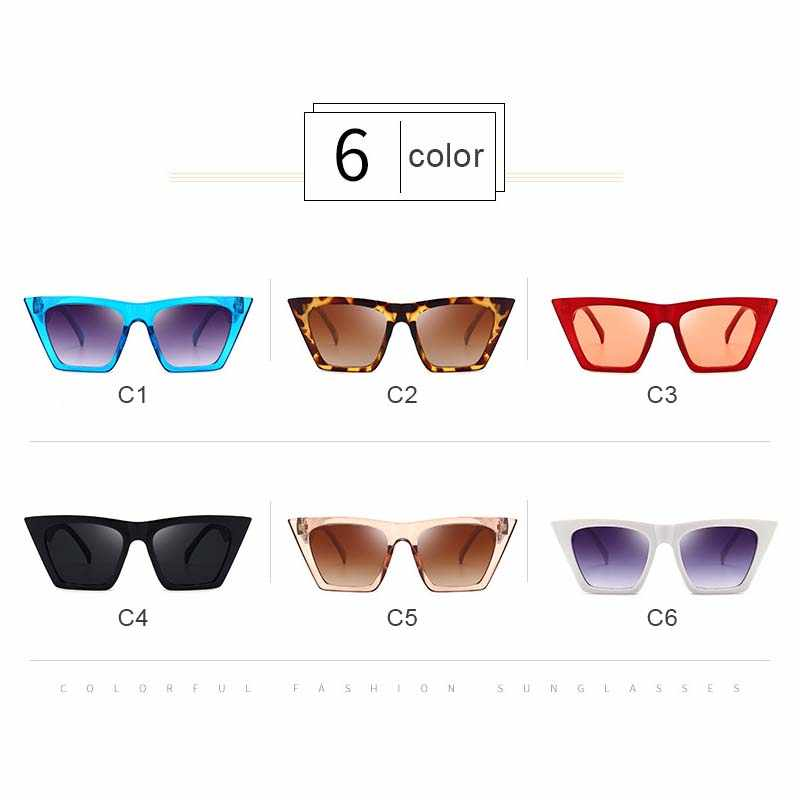 Zyomy Merek Desinger Vintage Colorful Kacamata Reflektif Flat Lensa Kacamata Pria Wanita Kacamata Hitam Mata Kucing Oculos De Sol Klasik