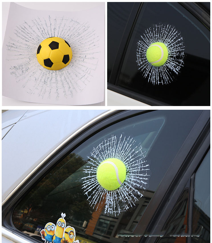 Dongzhen Auto Car styling 3D Car Sticker Football Basketball Tennis Baseball Hit Window For Ford for Focus VW Golf BMW Renault