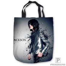 Пользовательские холст Майкл Джексон ToteBags сумки сумка-шоппер Повседневное пляжные сумки Складная 180713-06-17