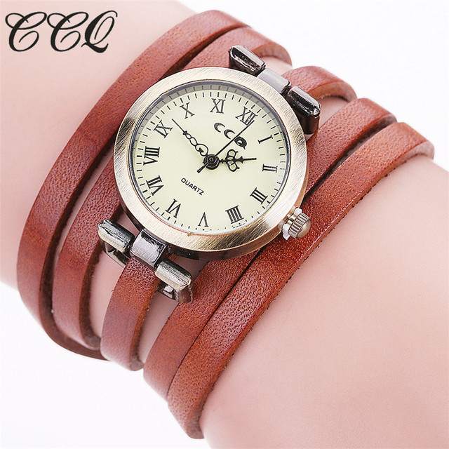 CCQ Brand Fashion Vintage Genuine Leather Bracelet Watch Casual Women Multilayer