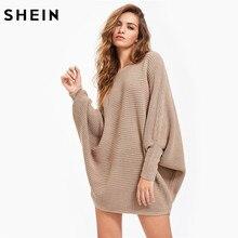 """Шеин дамы Dolman рукава Фактурный джемпер осень пуловер для Для женщин хаки рукав """"летучая мышь"""" Повседневное свободные Свитеры для женщин"""