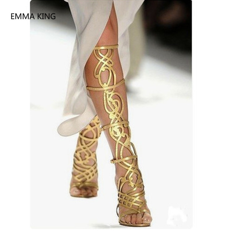 Sommer In Gladiator Sexy Gold Picture as Runway Frauen Spitze Shown Picture Sandalen Damen As Frau High Cut Dünne Offene Stiefel out Kniehohe Schuhe Heels Römischen Stil nxrfxwp7