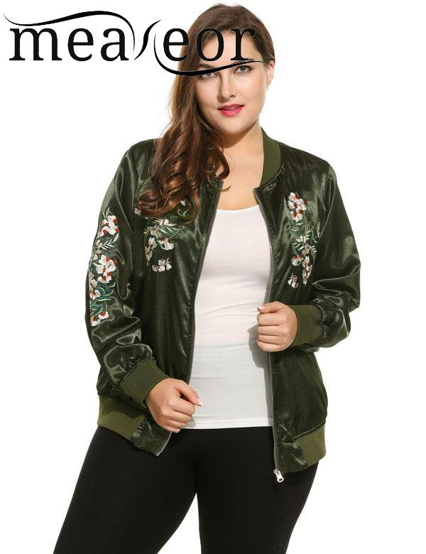 meaneor Long Fashion Retro Plus Sizes Women Sleeve Flower Embroidered Zip up Bomber Jacket