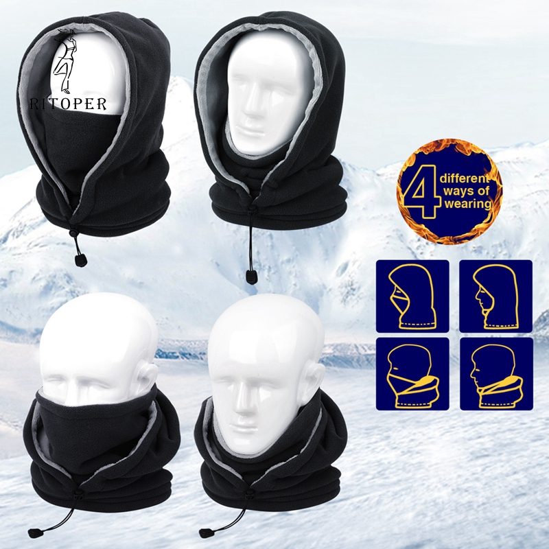 Image 5 - RITOPER Winter Fleece Balaclava Men Women Beanie Warm Thicken Hat Scarf Neck Sport Mask Outdoor Skiing Cycling Hiking Skullies-in Men's Skullies & Beanies from Apparel Accessories on AliExpress