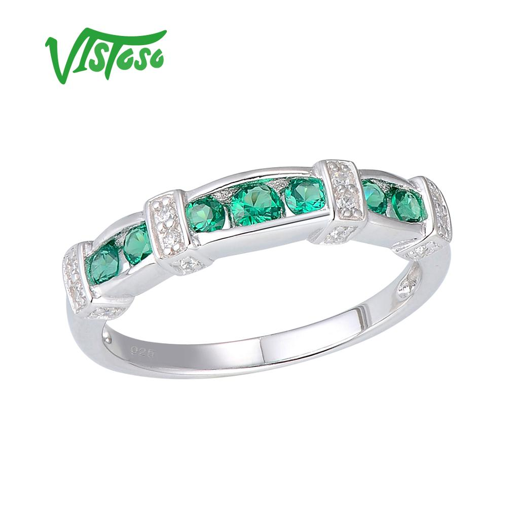 Round Green Spinel 925 Sterling Silver Rings For Women Wedding Anniversary Party Fine Jewelry Ring Sterling Silver Rings