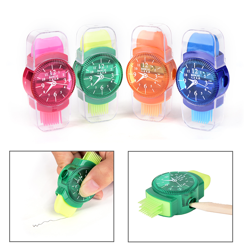 1pc 3 In 1 Wristwatch Modeling Pencil Sharpener With Eraser And Brush Lovely Kawaii School Stationery Supplies 7.5*2.5*1.8cm