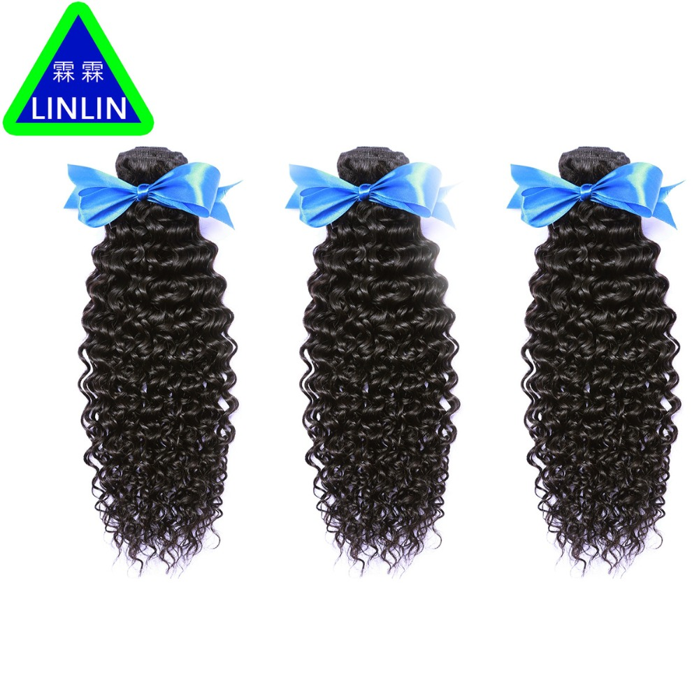 LINLIN Indian Human Hair Afro Kinky Curly Hair 3 Bundles Weave Extension Hair Bundles Hair Rollers wigs Can Dyed & Bleach