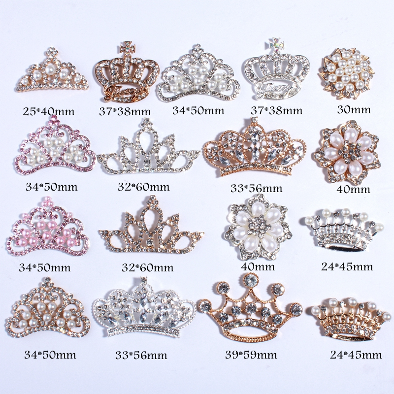 120PCS Vintage Handmade Clear Crystal Rhinestone Buttons With Ivory Color For Wedding Invitation Crown Snow Shape