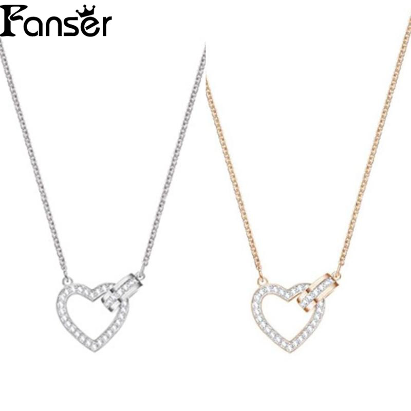 FANSER Heart Newset Lovely Necklace Swarovsk Has Logo 100% Pure Silver Original Copy Factory Wholesale Free Mail Womens chain