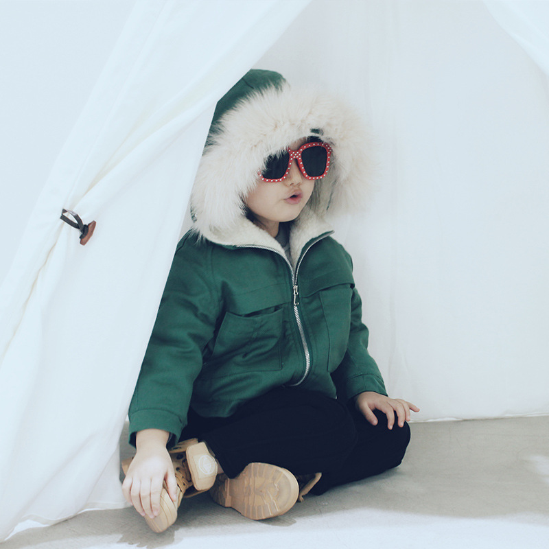 Children's wear big fur collar children winter clothing new boys and girls in pure lamb cotton padded jacket for children 2016 rabbit hair in the cotton coat big raccoon fur collar jacket