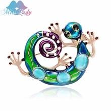 Señora de La srta. Esmalte Lagarto Gecko Broches para Mujeres Niñas Corsages Broche Verde lable botones broches joyas de moda