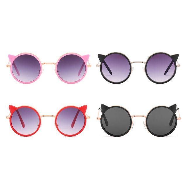Metal Frame Kids Sunglasses Girls Boys Glasses Eyewear Baby Children Sunglasses Uv400 Sun Glasses oculos infantil Cat Ears