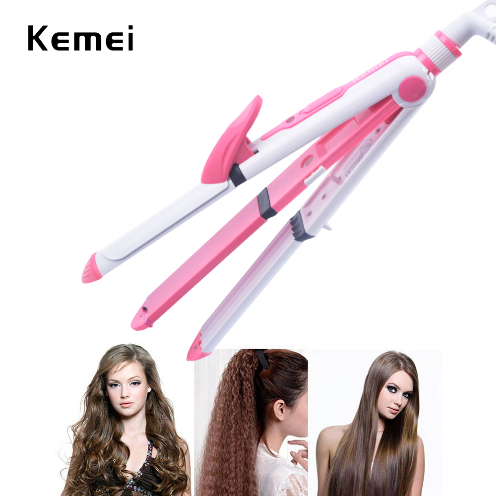 KeMei 3 In 1 Hair Curling Iron EU Plug Hair Straightener Multifunction corrugated Iron Corn Plate Heated Roller KM-1213 titanium plates hair straightener lcd display straightening iron mch fast heating curling iron flat iron salon styling tools