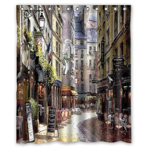Romantic Stylish Art Small Streets Of Paris Cafe Fashion Custom Shower Curtain Bathroom Decor