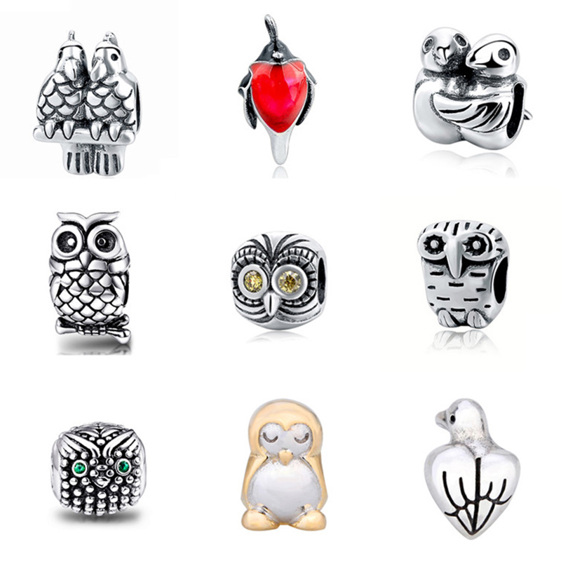 Hot sale Fit Authentic pandora pandora bracelets Silver 925 Original birds Charm Beads Diy Jewelry making Gifts free shipping