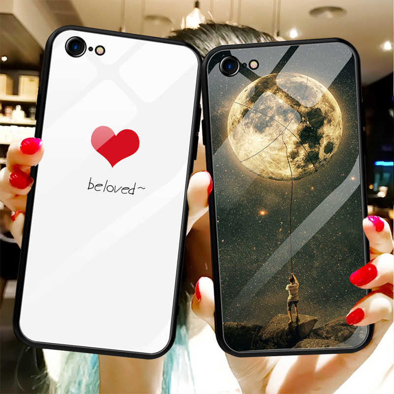 GerTong Tempered Glass Case For iPhone 7 8 6 6SPlus X XS Max XR Patterned Cover Soft Silicone PC Shockproof Glass Back Shell