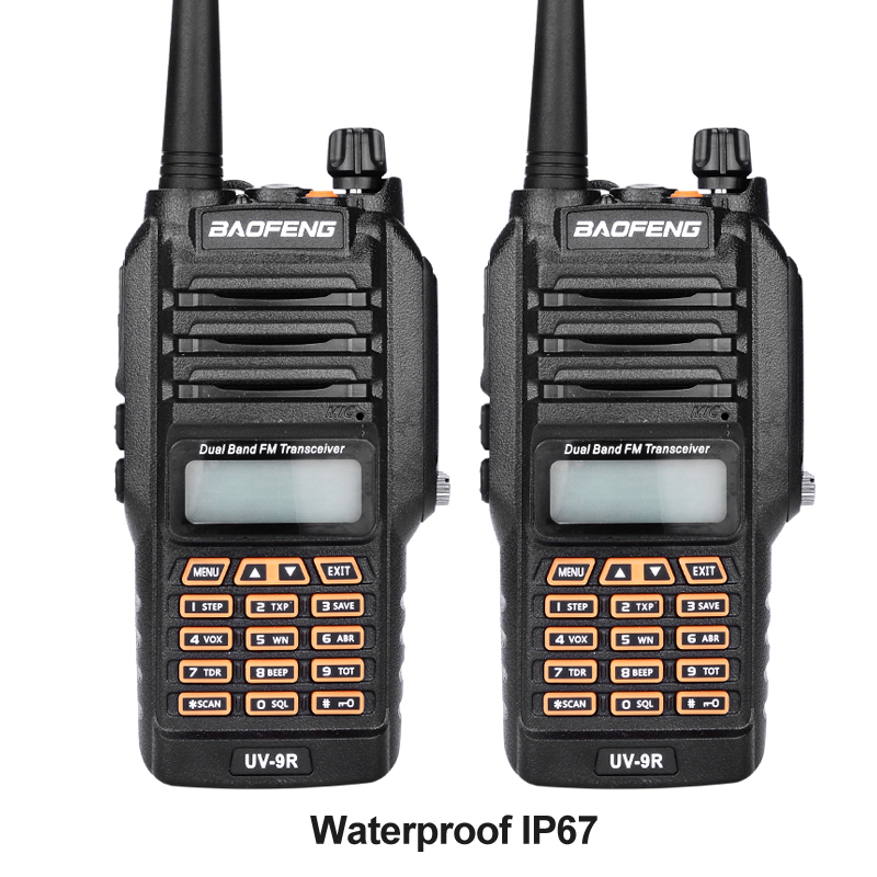 New Baofeng UV 9R Handheld Walkie Talkie 8W UHF VHF UV Dual Band IP67 Waterproof Two