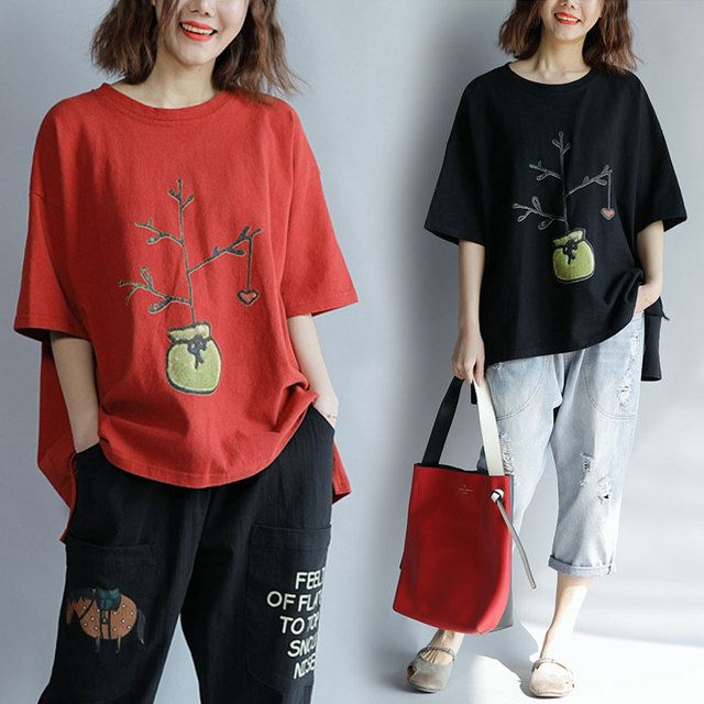 c70633a6820f1 Plus Size 4XL 2018 Summer Women Fashion Plant Print Tops Tee Ladies Female  Large Big Short Sleeve Casual Loose Cotton T shirt-in T-Shirts from Women's  ...