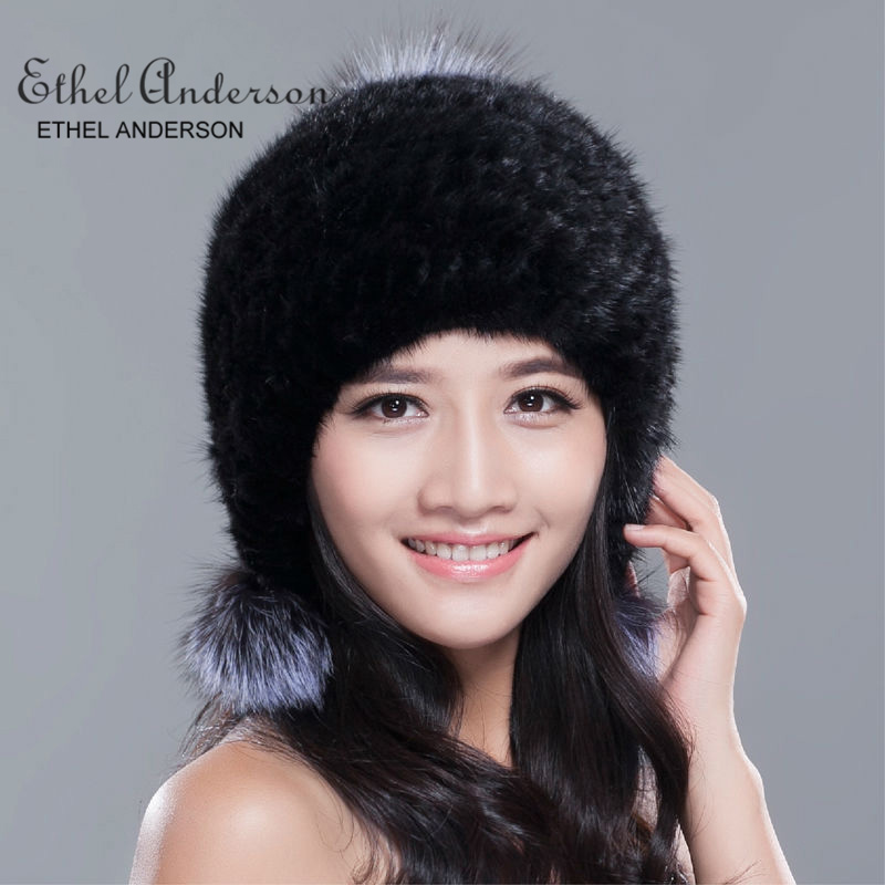 ETHEL ANDERSON Russia winter hats for women genuine mink fur hat with silver fox fur pompom lady's fashion high-end female cap