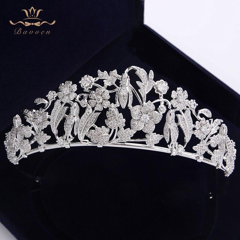 Fleurs scintillantes mariées Zircon diadèmes couronnes feuilles bandeaux cristal plaqué accessoires de cheveux de mariage bijoux de soirée en argent
