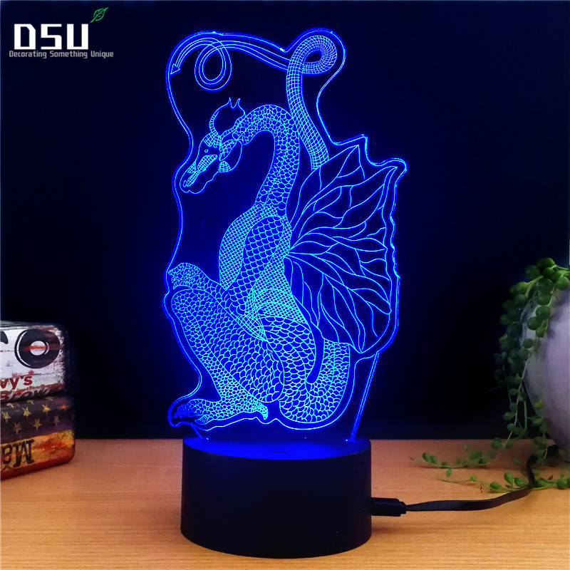 New Women Snake Head Skull 3D LED USB Lamp Rock Style 7 Colors Changing Flash Atmosphere Night Light Desk Table Decor new 3d retro ancient sailing sea boat ship led lamp chinese style 7 colors changing illusion night light usb table desk decor