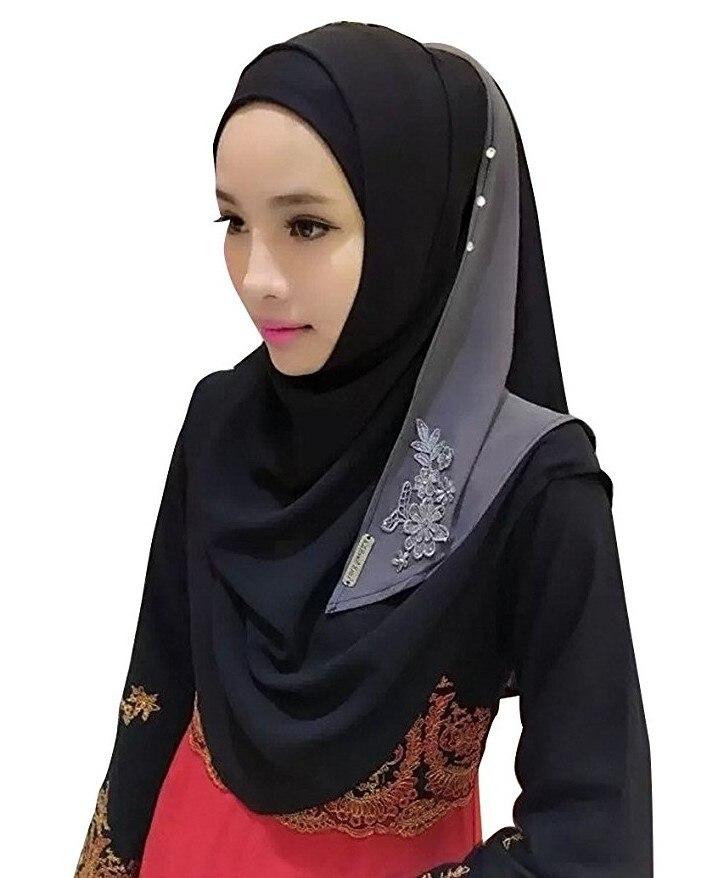 Хлопковый хиджаб шарф, кружевной вышитый сшивание дизайн женский хиджаб платок на голову длинные шали обертывания Джерси мусульманский шарф - Цвет: Color 2